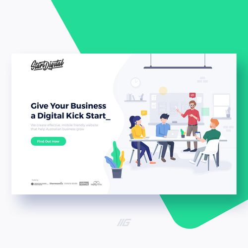 Landing page artwork with the title 'Landing page illustration for web design agency'