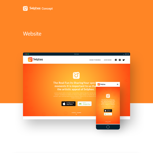 Yellow and orange design with the title 'Website/responsive design for Selphee'