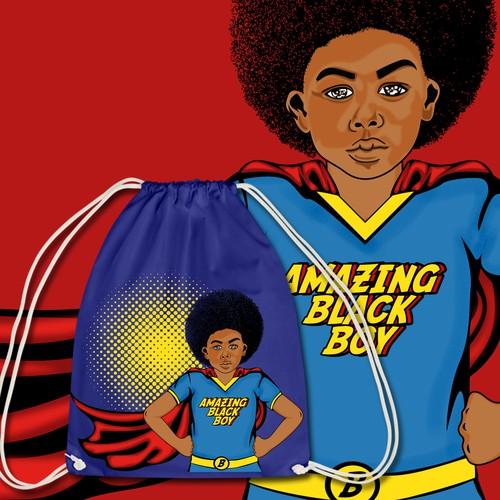 Superman design with the title 'Bag design for Kids'