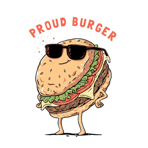 Cool t-shirt with the title 'Proud Burger'