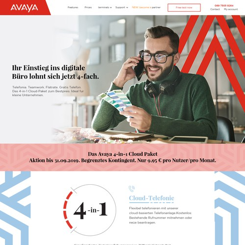 Communication website with the title 'Create a progressive Subpage for Avayacloud'