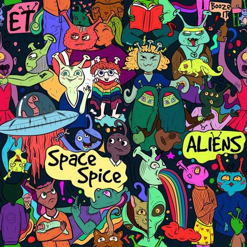 Alien illustration with the title 'Seamless pattern - alien diversity'