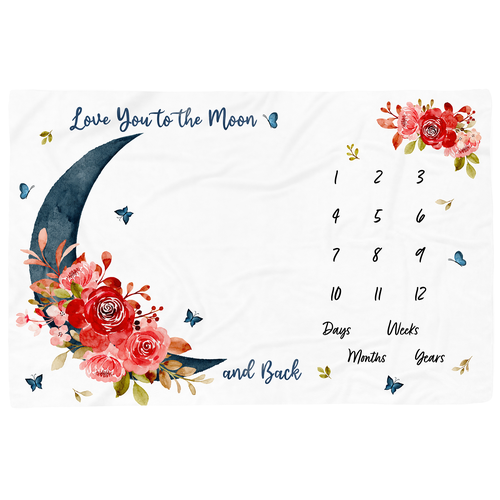 Blanket design with the title 'Milestone blanket design with moon and roses'