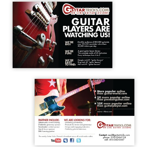 Flyer logo with the title '4x6 flyer for guitar website'