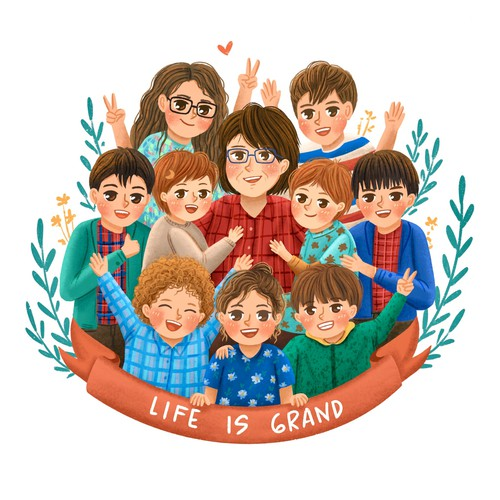 Family artwork with the title 'Life is Grand'