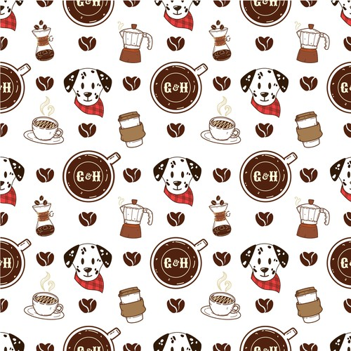 Coffee shop illustration with the title 'coffee and dog Pattern'