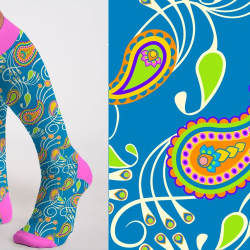Paisley design with the title 'paisley sports socks pattern'