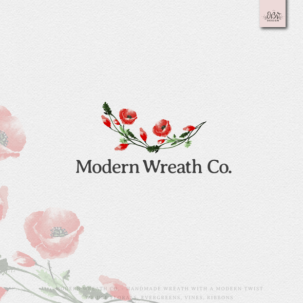 Organic logo with the title 'Handmade wreath with a modern twist'