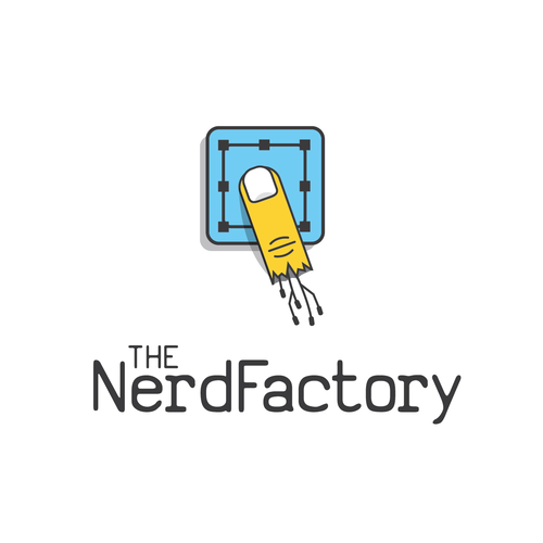Pointer design with the title 'Who can create a not so obvious logo for The Nerd Factory?'