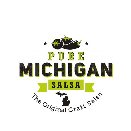 Local logo with the title '*** Pure Michigan Salsa needs an incredible new logo *** Help us brand our image!***'