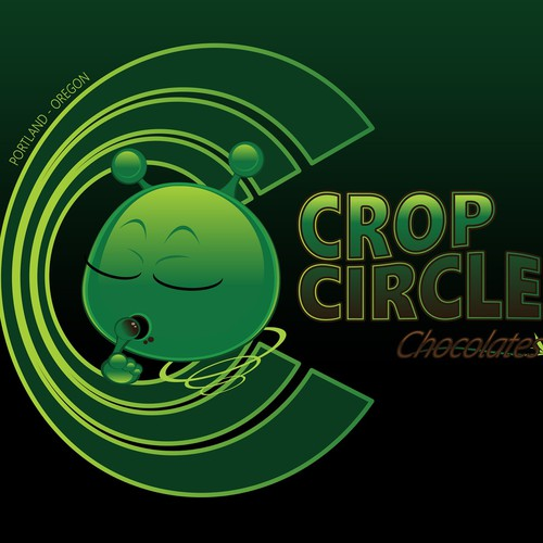 "Glossy logo with the title '""CropCircle"" HighEndHash Chocolates'"