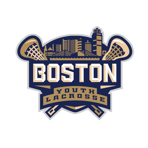 3D sports logo with the title 'Boston Youth Lacrosse Logo'