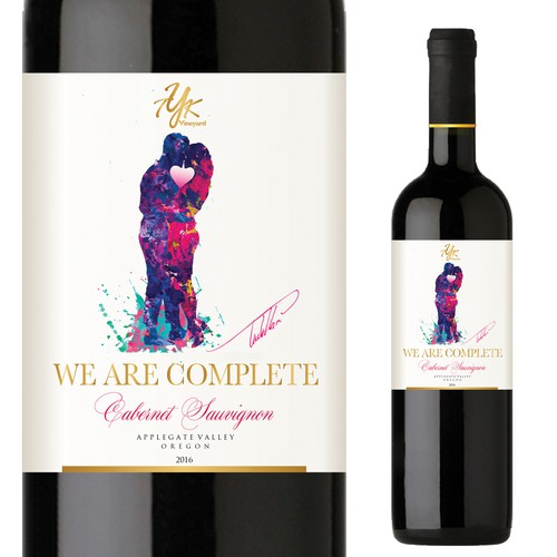 Red wine label with the title 'Label for TYK Vineyard - We are Complete Cabernet Sauvignon'