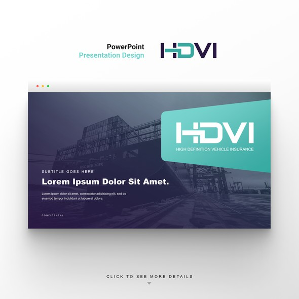 Trucking design with the title 'Fresh and contemporary corporate PowerPoint template'