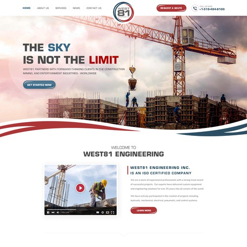 Crane design with the title 'Powerful Website for A Growing Engineering Firm'