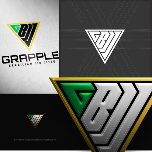 Green and yellow logo with the title 'Brazilian jiu jitsu gym looking for a logo of strength and simplicity'