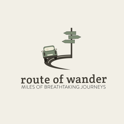 Road design with the title 'Route of Wander logo (travel the world)'