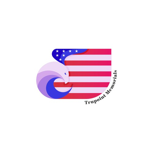 USA flag design with the title 'Trupoint Memorials Logo'