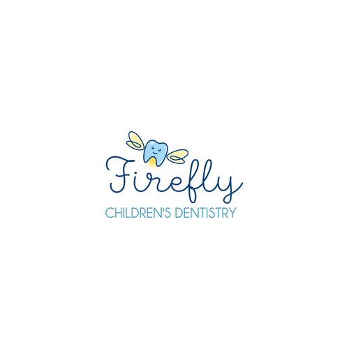 Blue logo with the title 'Cute logo concept for children's dentistry'