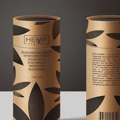 Canister packaging with the title 'Canister Packaging for Hemp Oil'