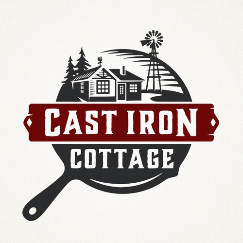 "Cottage logo with the title '""Cast Iron Cottage""'"