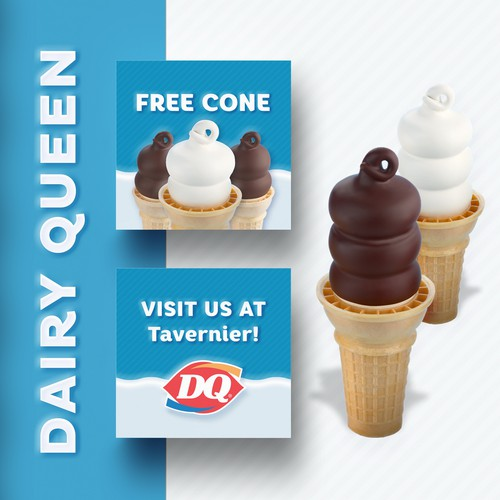 Dairy design with the title 'Dairy Queen - Free Cone Business Card / Invitation Card'