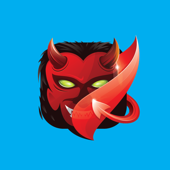Hell design with the title 'Devil Icon Logo'