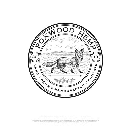 Hand-drawn logo with the title 'Foxwood Hemp Cannabis'