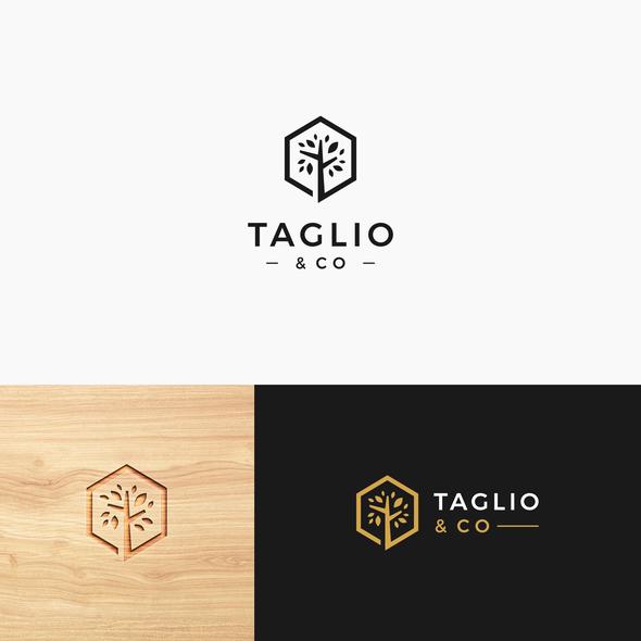 Kitchen furniture design with the title 'Taglio & Co'