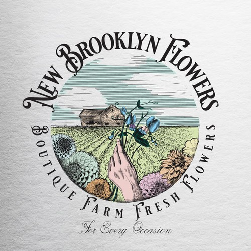 Realistic logo with the title 'New Brooklyn Flowers'