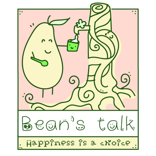 Soybean logo with the title 'Bean's talk (beancurd dessert) happy!'