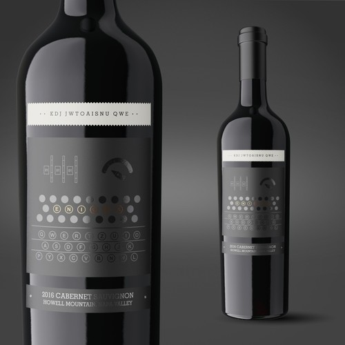 Classic packaging with the title 'Enigma Wine label'