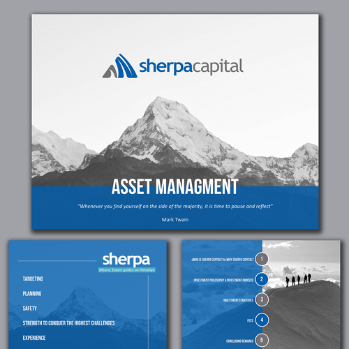 Blue design with the title 'A Natural look for an Asset Mgmt Company Presentation'
