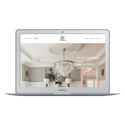 Interior design website with the title 'MO Interiors interior design website'