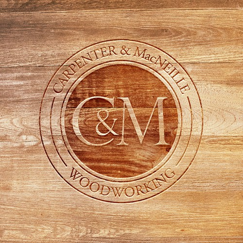 Wood label with the title 'Stamp Logo Concept for CARPENTER & MacNEILLE Woodworking V4'