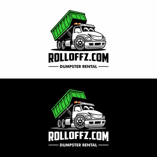 Dumpster logo with the title 'Rolloffz Dumpster Rental'