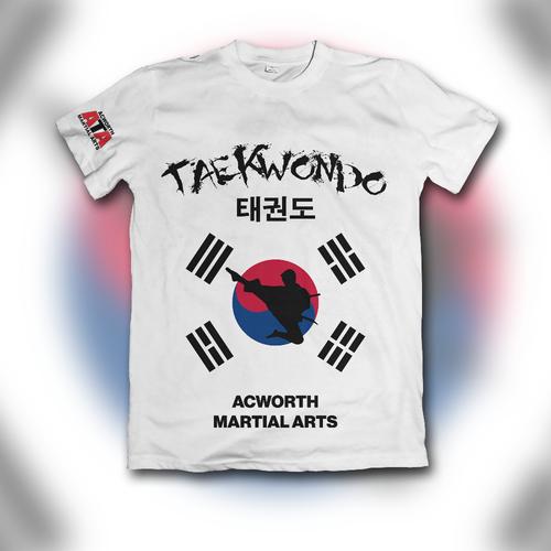 Taekwondo design with the title 'Flashy Taekwondo School Shirt'