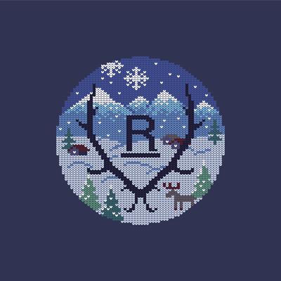 Winter knit pattern design, illustration based on the company logo