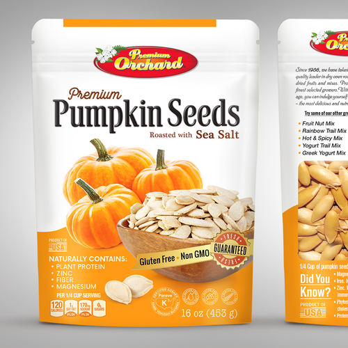 Retail box packaging with the title 'Premium Pumpkin Seeds, packaging design'
