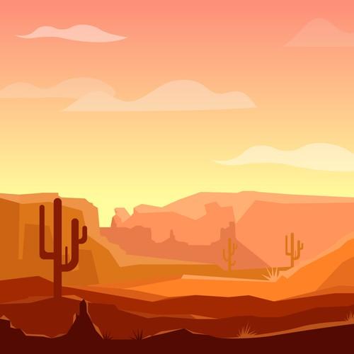 Desert artwork with the title 'Desert illustration'