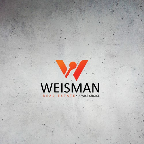 Red and gray design with the title 'Modern logo for Weisman Real Estate'