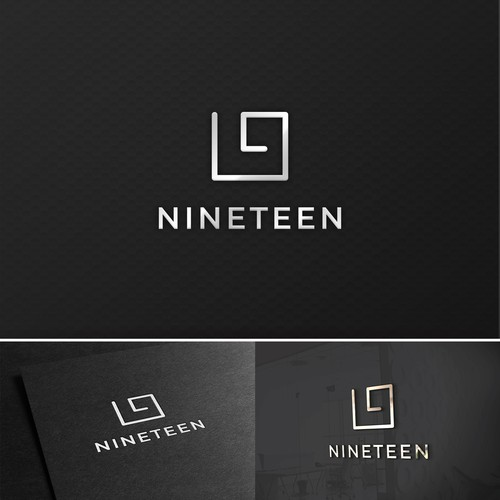 Swirly logo with the title 'Concept logo made for Golf ranch called Nineteen'