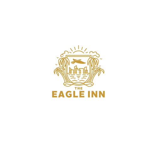 Heraldic design with the title 'Eagle Inn'