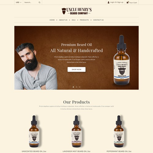 HTML5 website with the title 'Beard Company Shopify Website Design & Development'