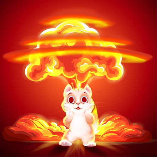 Yellow and red design with the title 'CATastrofic Kitty cartoon'