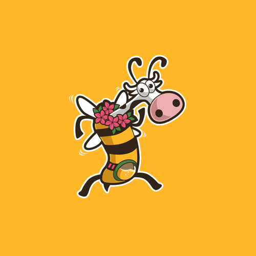 Milk logo with the title 'Bee Cow logo mascot for milk honey ice cream company'