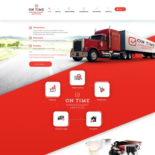 Red website with the title 'On Time'