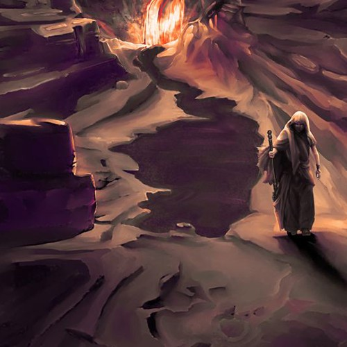 Scenery artwork with the title 'Atum leaving hell.'