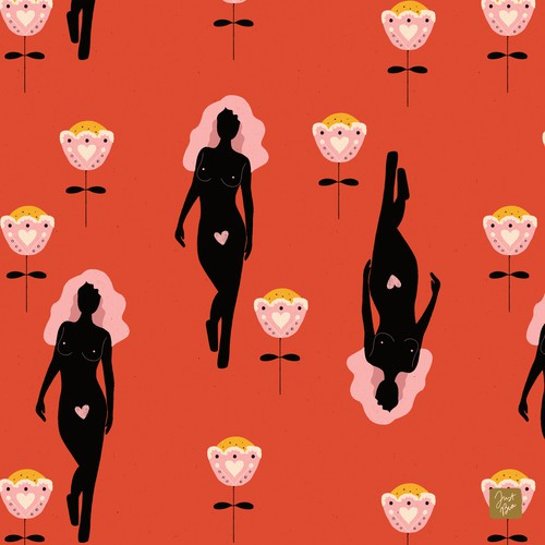 Pencil design with the title 'Fashion-Foward, Soulful Kimono Prints'
