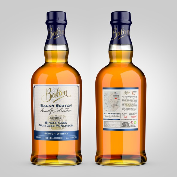 Whiskey label with the title 'Balan Scotch Family Selection'